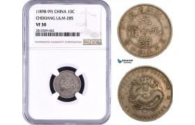 AA928, China, Chekiang, 10 Cents ND (1898-99) Silver, L&M 285, NGC VF30