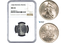 AA935, France, Fifth Republic, 1 Franc 1960, Paris, NGC MS64