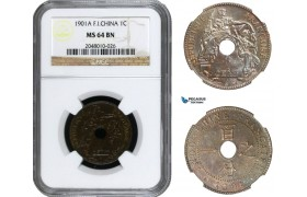 AA937, French Indo-China, 1 Centime 1901-A, Paris, NGC MS64BN