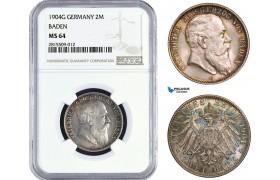 AA939, Germany, Baden, Friedrich, 2 Mark 1904-G, Karlsruhe, Silver, NGC MS64, Top Pop!