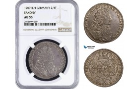 AA940, Germany, Saxony (Saxon-Polish) August II, 2/3 Taler 1707 ILH, Dresden, Silver, NGC AU50, Rare!