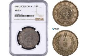 AA947, Korea, Kuang Mu, 1/2 Won Yr. KM9 (1905) Silver, NGC AU55