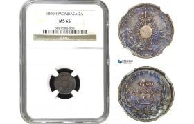 AA948, Mombasa, 2 Annas 1890-H, Heaton, Silver, NGC MS65 (Violet toning)