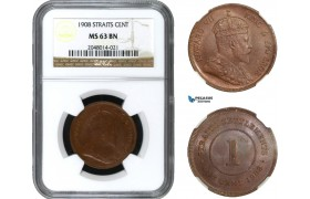 AA953, Straits Settlements, Edward VII, 1 Cent 1908, NGC MS63BN