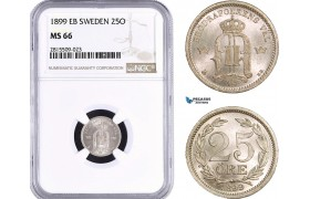 AA957, Sweden, Oscar II, 25 Öre 1899 EB, Stockholm, Silver, NGC MS66