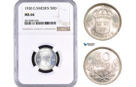 AA959, Sweden, Gustaf V, 50 Öre 1930 G, Stockholm, Silver, NGC MS66
