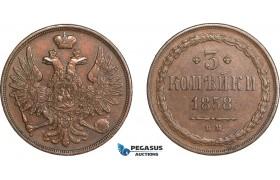 AA966, Russia, Alexander II, 3 Kopeks 1858 BM, Warsaw, XF-AU, Rare!