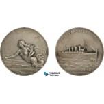 AA971, France, Silvered Bronze Art Nouveau Medal c. 1900 (Ø42mm, 26g) by Patriarche, Mermaid, Transatlantique