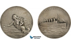 AA971, France, Silvered Bronze Art Nouveau Medal c. 1900 (Ø42mm, 26g) by Patriarche, Mermaid, Transatlantique
