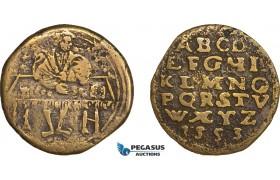 AA973, Germany, Nürnberg Rechenpfennig (Token) 1553 (Ø26mm, 4.5g) by Damian Krauwinckel?, Alphabet
