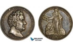 AA984, Sweden, Silver Art Nouveau Medal 1895 (Ø31, 15.5g) by Ahlborn, Science Academy, Carl Scogman, Genealogy