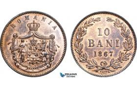 AB004, Romania, Carol I, 10 Bani 1867 Watt&Co., Birmingham, AU