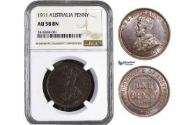 AB010, Australia, George V, Penny 1911, London, NGC AU58