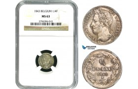 AB011, Belgium, Leopold I, 1/4 Franc 1843, Brussels, Silver, NGC MS63