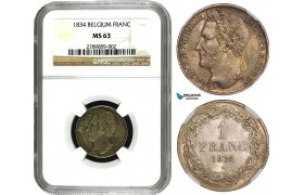 AB012, Belgium, Leopold I, 1 Franc 1834, Brussels, Silver, NGC MS63