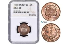 AB013, British North Borneo, 1/2 Cent 1907-H, Heaton, NGC MS62RB
