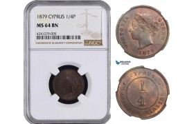 AB016, Cyprus, Victoria, 1/4 Piastre 1879, London, NGC MS64BN