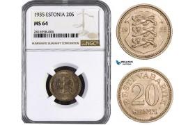 AB018, Estonia, 20 Senti 1935, NGC MS64