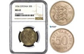 AB019, Estonia, 50 Senti 1936, NGC MS63