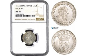 AB021, France, Louis XIII, 1/12 Ecu 1643-A (Rose) Paris, Silver, NGC MS61, Pop 1/2