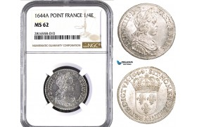 AB022, France, Louis XIV, 1/4 Ecu 1644-A (Point) Paris, Silver, NGC MS62, Pop 1/0