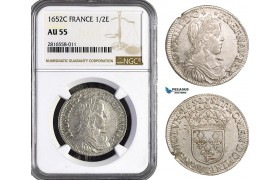 AB024, France, Louis XIV, 1/2 Ecu 1652-C, Saint-Lô, Silver, NGC AU55, Pop 1/0