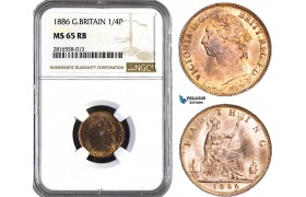 AB026, Great Britain, Victoria, Farthing (1/4P) 1886, NGC MS65RB