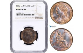 AB027, Great Britain, Victoria, 1/2 Penny 1862, NGC MS64+ BN