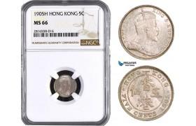 AB029, Hong Kong, Edward VII, 5 Cents 1905-H, Heaton, Silver, NGC MS66