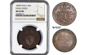 AB032, Italy, Papal, 1 Baiocco 1829-R I, Rome, NGC MS63BN