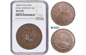 AB033, Italy, Papal, 5 Baiocchi 1850-R IV, Rome, NGC MS63BN