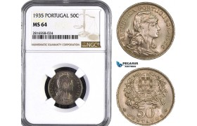 AB040, Portugal, 50 Centavos 1935, NGC MS64, Rare!