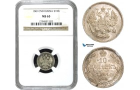 AB047, Russia, Alexander II, 10 Kopeks 1861 СПБ, St. Petersburg, Silver, NGC MS63
