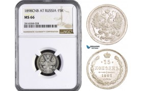 AB048, Russia, Nicholas II, 15 Kopeks 1898 СПБ-АГ, St. Petersburg, Silver, NGC MS66, Rare so nice!