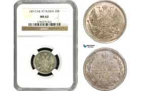 AB052, Russia, Alexander III, 20 Kopeks 1891 СПБ-АГ, St. Petersburg, Silver, NGC MS62