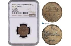 AB057, Sarawak, J. Brooke Rajah, Copper Token Keping AH1247/1841, NGC AU55BN, Pop 1/1, Extremely Rare!