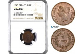 AB060, Straits Settlements, Victoria, 1/4 Cent 1845, NGC MS64BN