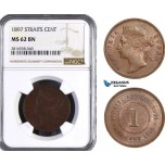 AB063, Straits Settlements, Victoria, 1 Cent 1897, NGC MS62BN