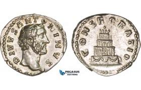 AB070, Roman Empire, Divus Antoninus Pius (Died 161 AD) AR Denarius 3.33g) Rome, 161 AD, Consecration, Lustros aUNC