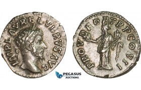 AB072, Roman Empire, Lucius Verus (161-169 AD) AR Denarius (3.57g) Rome, 161 AD, Providentia, Patina, AU