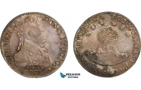 AB073, Bolivia, 8 Soles 1832 PTS JL, Potosi, Silver, Toned aUNC (Rev. Stained)
