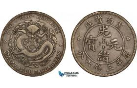 AB084, China, Yunnan, 3 Mace 6 Candareens (50 Cents) 1907, Silver, L&M 419, Dark Toning, VF-XF