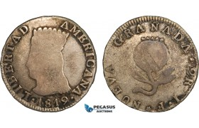 AB092, Colombia, Nueva Granada, 2 Reales 1819 JF, Silver, Toned Fine