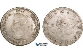 AB091, Colombia, Pre-Rebublican, 8 Reales 1820 JF, Cundinamarca, Silver, KM# C6, F-VF