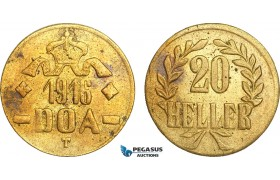 AB097, German East Africa (DOA) 20 Heller 1916-T, Tabora, Brass, UNC (Corrosion spots)