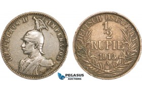 AB098, German East Africa (DOA) Wilhelm II, 1/2 Rupie 1913 A, Berlin, Silver, Toned VF-XF (Few Edge nicks)