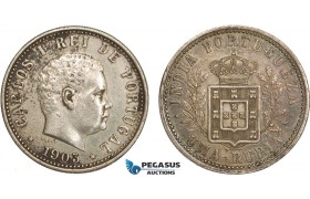 AB117, India (Portuguese) Carlos I, 1 Rupia 1903, Silver, Toned XF (Some cleaning on Obv.)