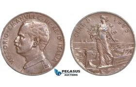 AB118, Italy, Vit. Emanuele III, 5 Centesimi 1918-R, Rome, Brown AU