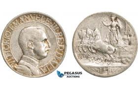 AB119, Italy, Vit. Emanuele III, 1 Lira 1910-R, Rome, Silver, Toned VF-XF