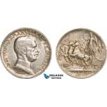 AB120, Italy, Vit. Emanuele III, 1 Lira 1917-R, Rome, Silver, Toned AU